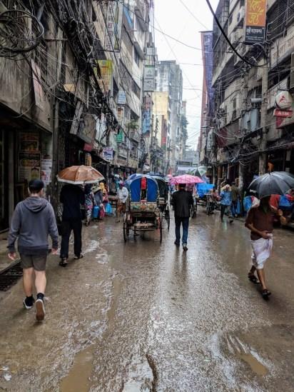 Old Dhaka street in the rain.