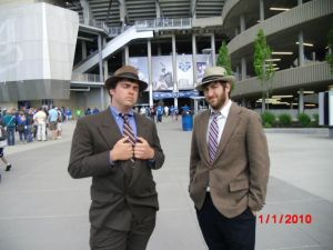 Brett Parker and friend at last year's Dress to the Nines day.