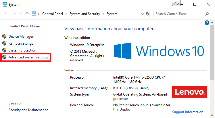 Windows system properties screen