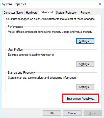 Advanced system settings box
