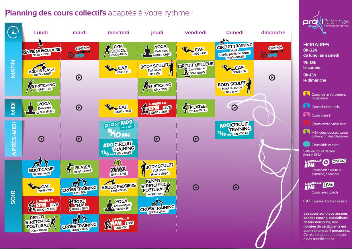 Planning cour collectif