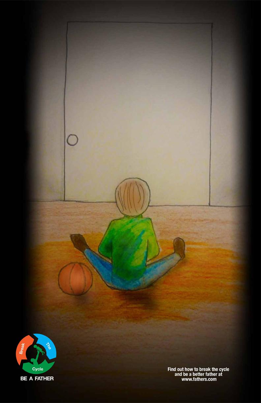 illustration of child at door
