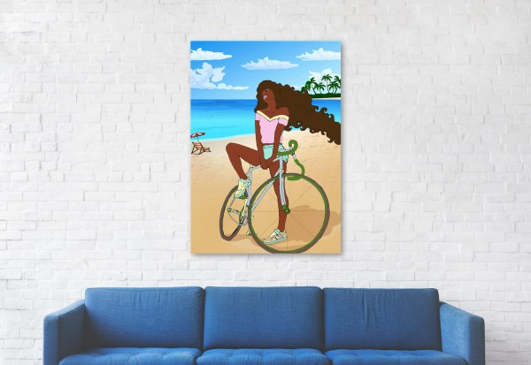 Black woman riding bike on beach, living room
