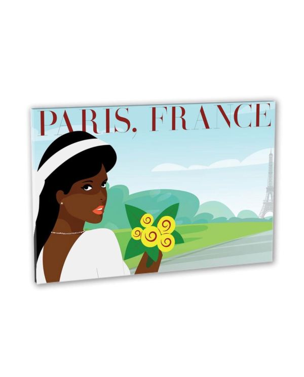 Art Nouveau Black woman in White drees in Paris France