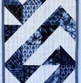 Blue Angle Modern Quilt Table Runner Handmade
