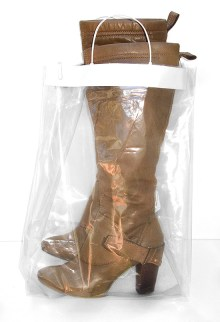 Your designer boots will be returned to you packaged in a plastic tote