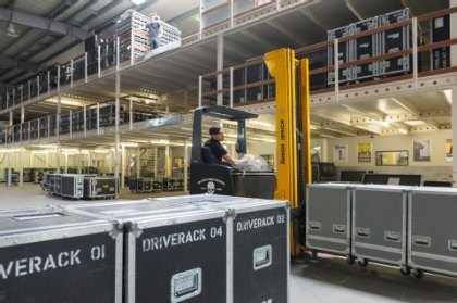 There are often several concerts to attended to at the same time, therefore the warehouse has to be large and well organized.