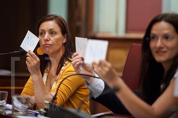 Cristina Tavío muestra su voto contrario a la moción de Hilario Rodríguez