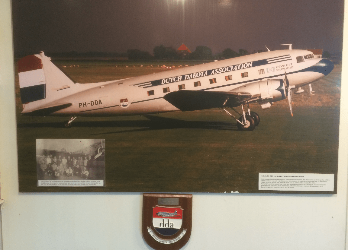 Picture of the crashed Dakota DC-3 airplane, on display in the Texel airport-museum by IJsbrand Wildeman (The 1996 Dakota-crash in the Wadden Sea)