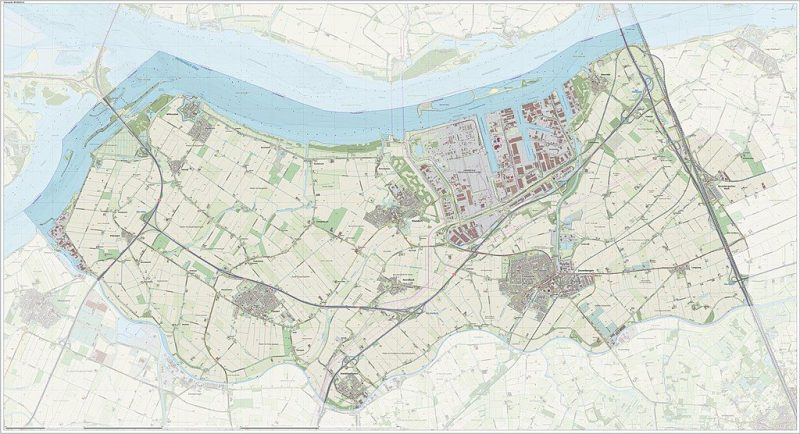 Topografische gemeentekaart. Resolutie: 400 pixels/km. Kaartbeeld samengesteld uit de open geodata van de Top10NL en Top25namen (Kadaster), Creative Commons-BY licentie. Gebouwvlakken uit open geodata BAG extract. Wegen uit de OpenStreetMap, OpenStreetMap community. Reliëfschaduw uit de Actuele Hoogtekaart AHN2. Samenstelling en kleurenschema: Jan-Willem van Aalst, met QGIS.