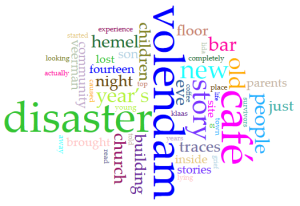 Wordcloud door Simone Tijdink (The disaster made me look, the stories made me see A fieldwork report on the Volendam Café Fire)