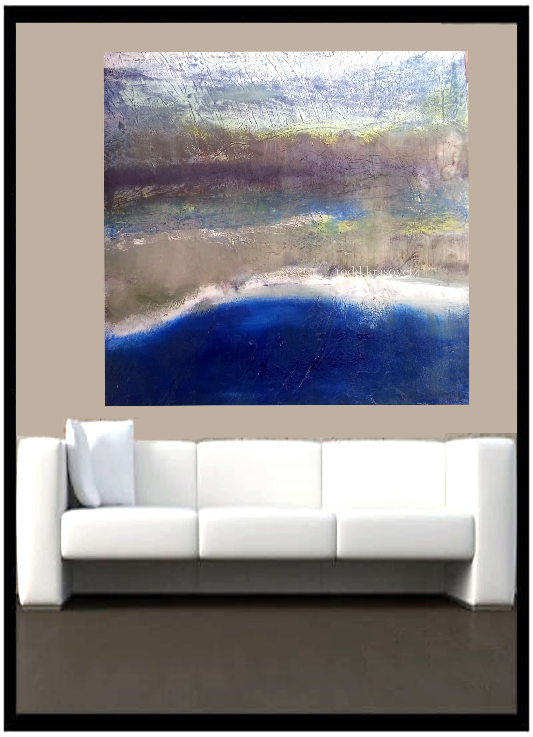 above sofa artwork replacement legs contemporary art oil on canvas titled blue wave