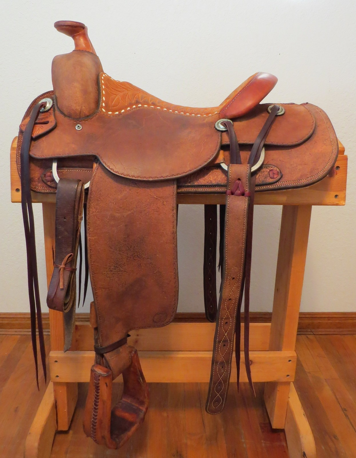 horse saddle office chair reupholster seat 9088 handmade larry duggan cowboy shop rough out 15 ¼