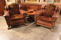 PAIR OF FRENCH LEATHER AND MOHAIR SMOKING CHAIRS