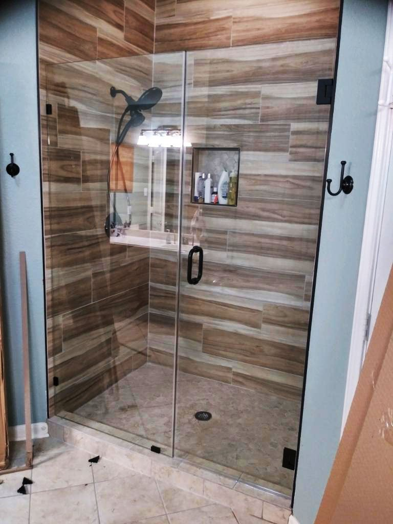 Finished Shower Project With Glass Doors