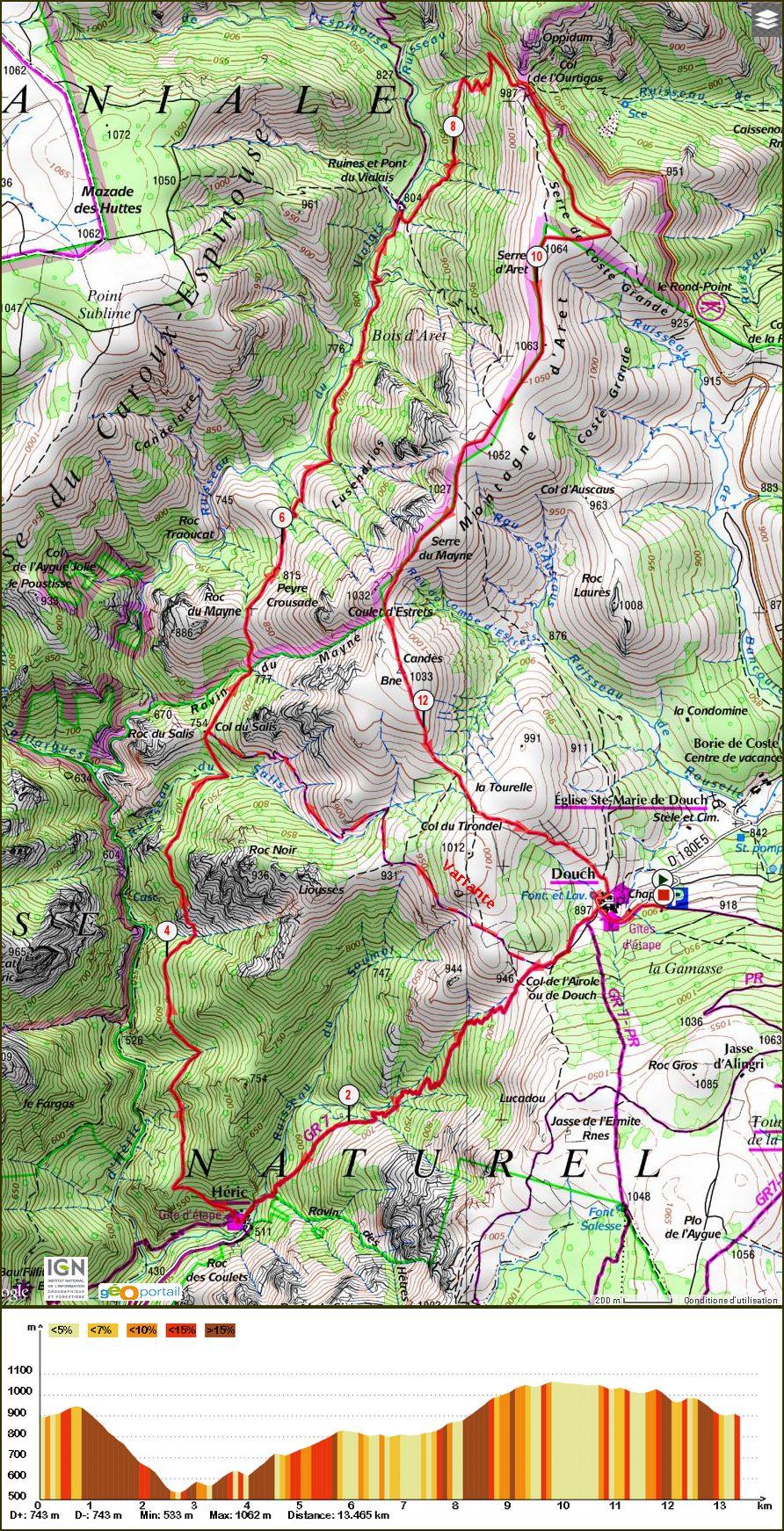 Circuit PR Le Vialais Massif du Caroux  Douch