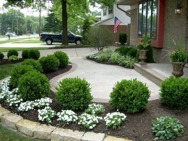 front yard bridge sidewalk landscaping