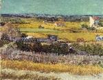la plaine de la Crau avec la ruine de Montmajour