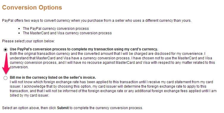 PayPals Währungsumrechner ausschalten