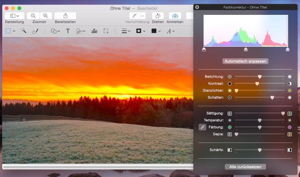 Farbkorrekturen sind mit Vorschau ebenfalls möglich (Bild: Screenshot).