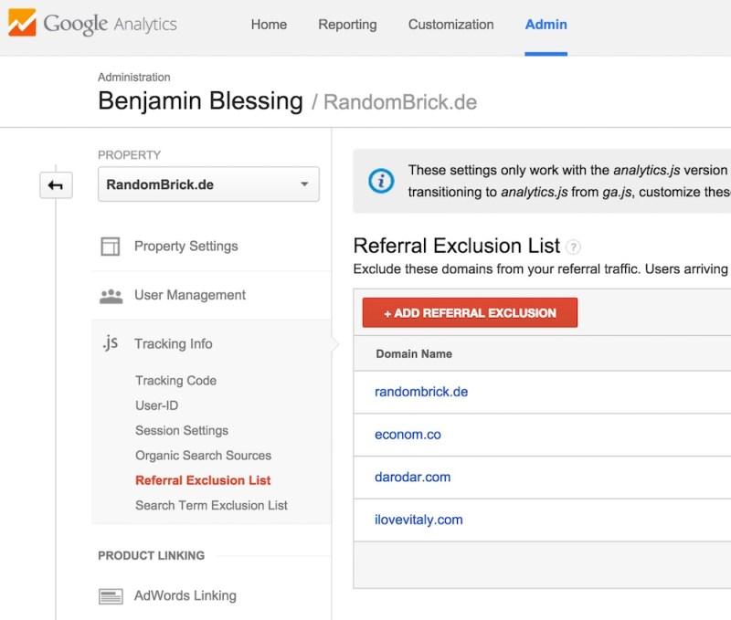 Die Referral Exclusion List enthält automatisch den eigenen Domainnamen (Bild: Screenshot Google Analytics).