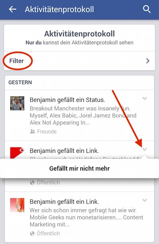 Aktivitätenprotokoll Facebook App
