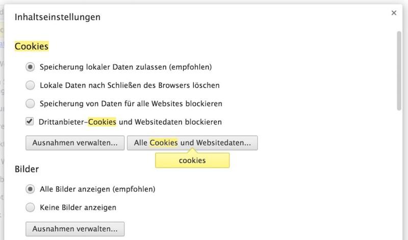 Google Chrome Cookie Einstellungen (Bild: Screenshot Google Chrome).