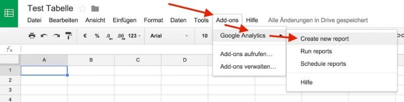 In Google Tabellen findet sich die Option Add-ons (Bild: Screenshot Google Tabellen).