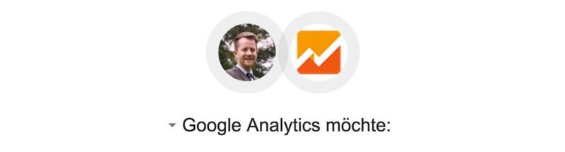 Google Analytics fordert umfangreiche Zugriffsrechte auf das Google Konto (Bild: Screenshot Google Tabellen).