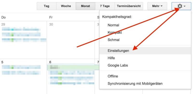 Die Einstellungen zum Google Kalender sind über das Zahnrad erreichbar (Bild: Screenshot Google Kalender).
