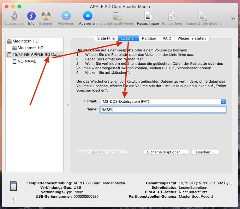 Raspbian für den Raspberry Pi unter macOS einrichten.