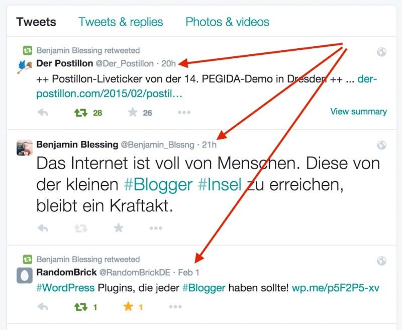 Twitter Direktlinks zu Tweets sind über die Datumsanzeige erreichbar (Bild: Screenshot Twitter).