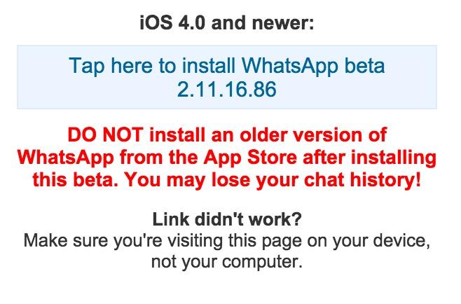 Die Installation von WhatsApp Beta für iPhone ist deutlich aufwendiger (Bild: WhatsApp.com Screenshot).