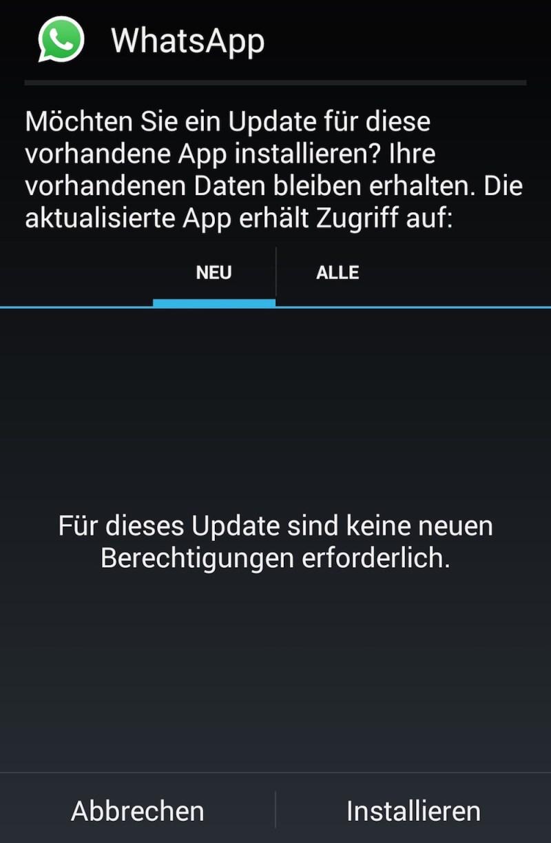 WhatsApp muss vorher nicht deinstalliert werden (Bild: Android Screenshot).