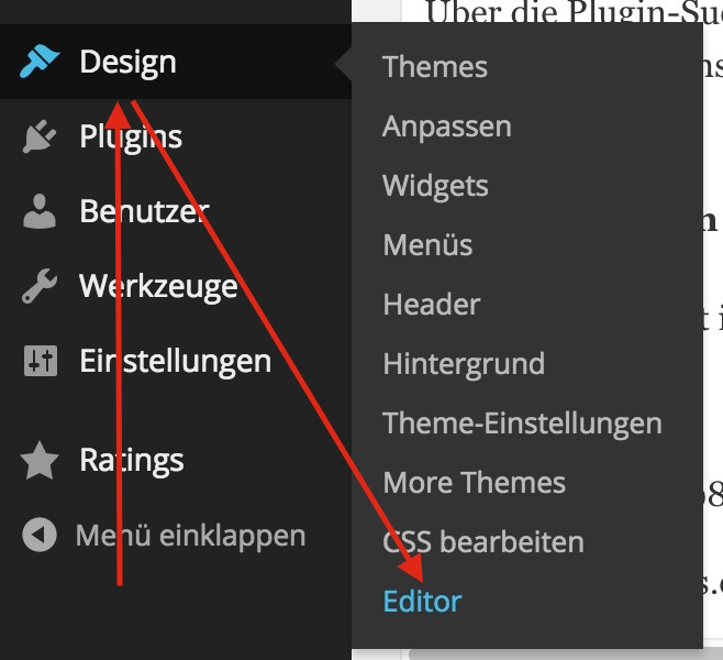 Design-Editor in WordPress (Bild: Screenshot WordPress).