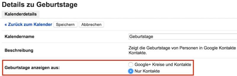 Geburtstage der Google+ Kontakte im Google Kalender anzeigen (Bild: Screenshot Google Kalender).