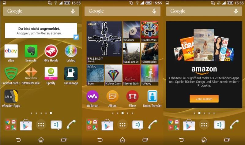 Vorinstallierte Apps auf dem Sony Xperia Z3 Desktop (Bild: Screenshot Android).
