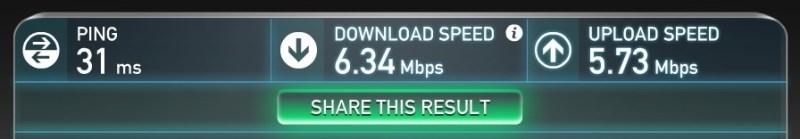 Übertragungsgeschwindigkeit des Lenovo T450s über UMTS (Bild: Screenshot).