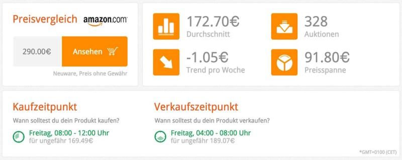 Zusätzlich erhält der Suchende weitere Vorschläge zum Kauf und Verkauf (Bild: Screenshot bidvoy.net).