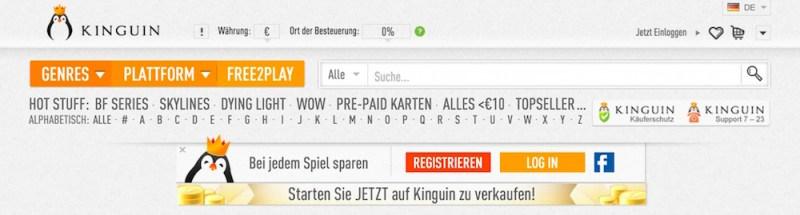 Mit Sitz in Hong Kong besitzt kinguin.com.de eine vollständig deutsche Webpräsenz (Bild: Screenshot kinguin.com.de).