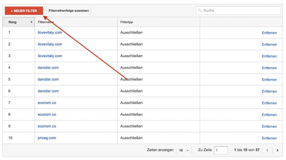 Google Analytics Spam Zugriffe blockieren (Bild: Screenshot Google Analytics).