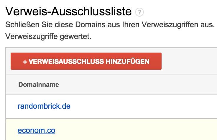 Domain der Verweis-Ausschlussliste hinzufügen (Bild: Screenshot Google Analytics).