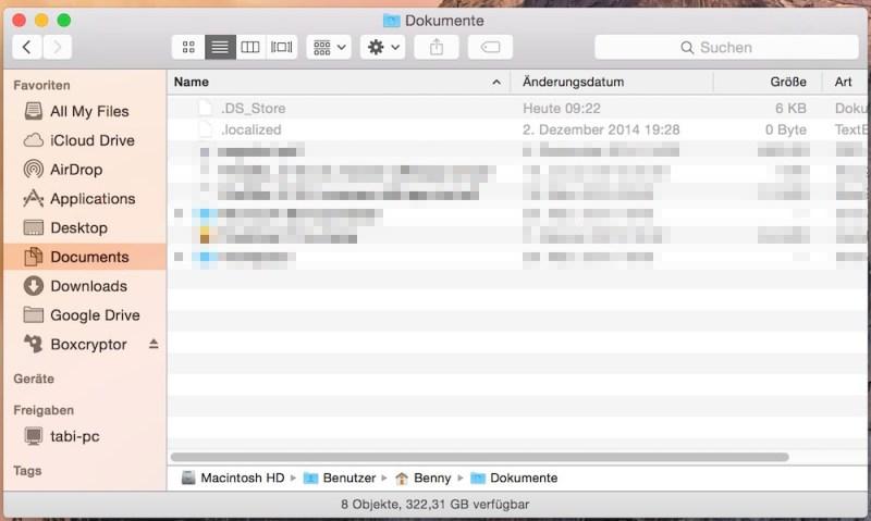 Versteckte Dateien unter OS X anzeigen (Bild: Screenshot OS X).
