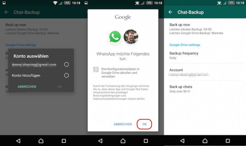 WhatsApp mit Google Drive verbinden (Bild: Screenshot WhatsApp).