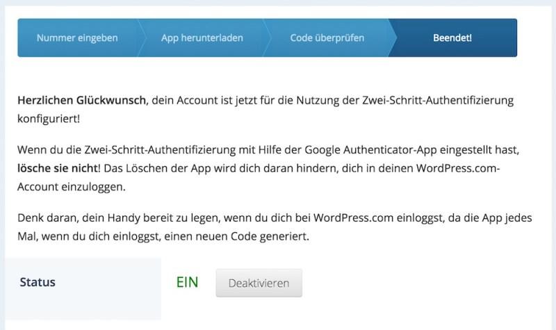 WordPress Zwei-Faktor-Authentifizierung aktivieren (Bild: Screenshot WordPress.com).