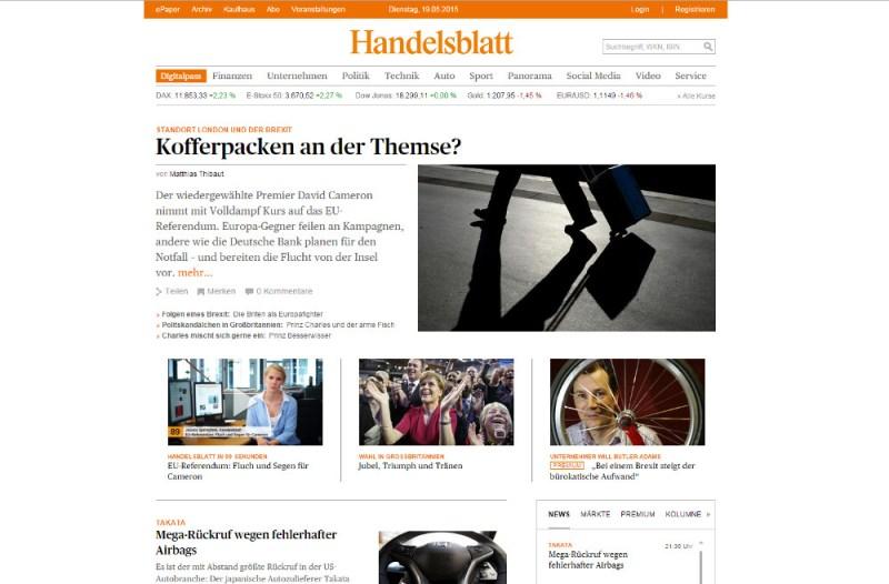 Das Handelsblatt ohne Werbung (Bild: Screenshot Handelsblatt.com).