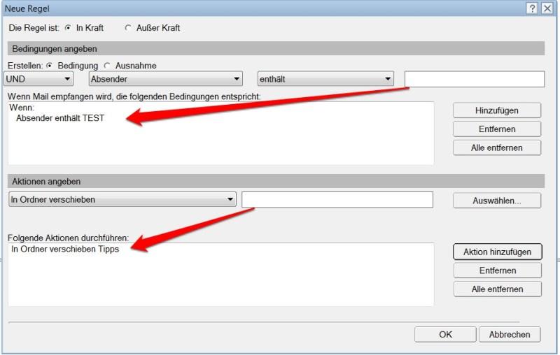 Lotus Notes E-Mail Regel Ordner verschieben (Bild: Screenshot Lotus Notes 9)