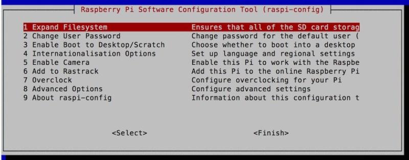 Raspberry Pi Konfigurationsmenü unter Raspbian (Bild: Screenshpt Raspbian).