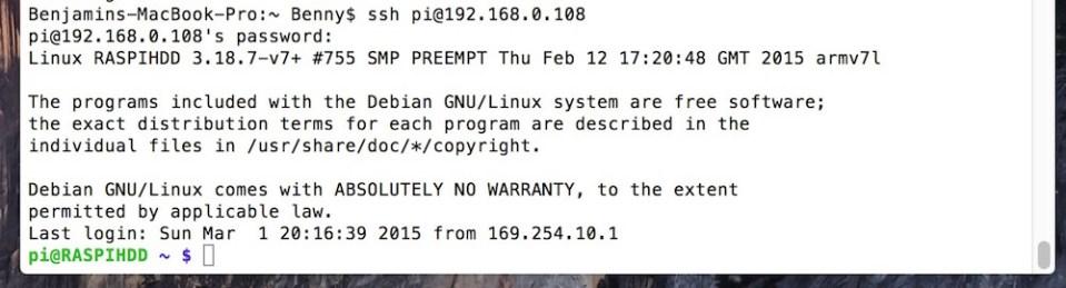 Raspberry Pi über SSH-Verbindung steuern (Bild: Screenshot Terminal unter OS X).