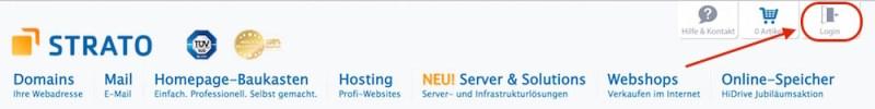 Über Strato.de einloggen (Bild: Screenshot Strato.de).
